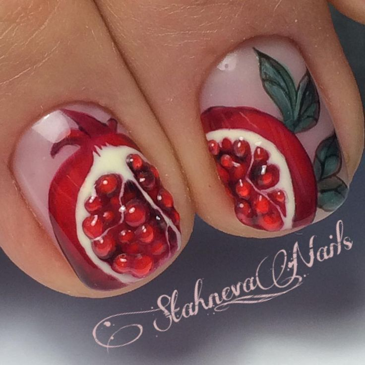 Crazy detailed pomegranate nails