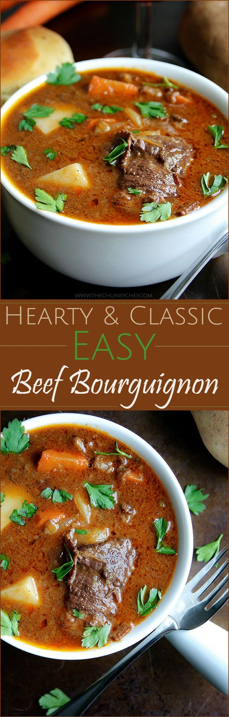 Beef Bourguignon | The Chunky Chef | Such a classic Fall recipe... revamped a little bit and made easy to make for your whole family. Try this beef bourguignon soon!
