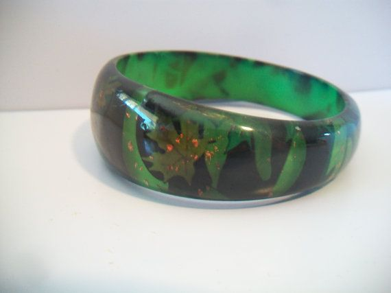 Green and Black Leaf Bangle Bracelet Acrylic by ALEXLITTLETHINGS