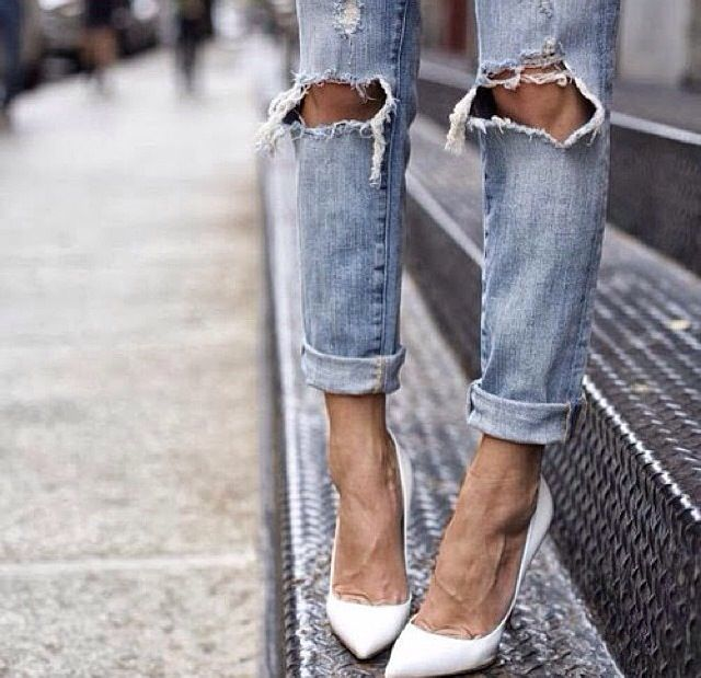 ripped jeans with heels - Jean Yu Beauty