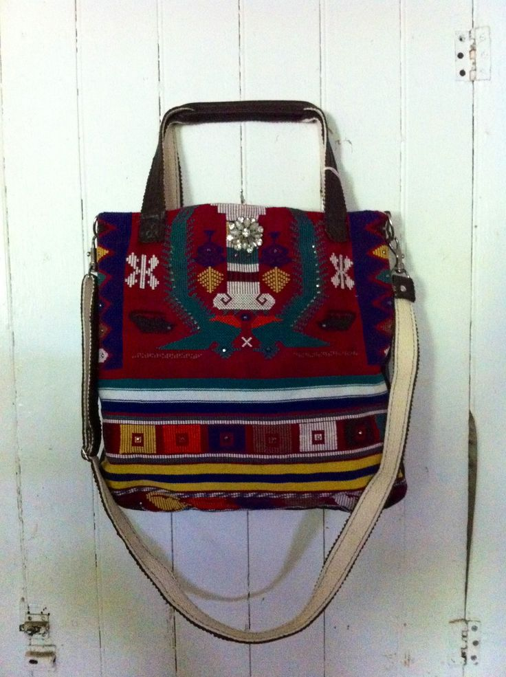 Made from a vintage mexican woven tapestry accessorize
