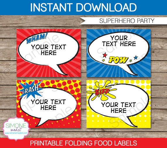 Type your own text into these Superhero Party printable Food Labels or Food Buffet Tags!    Instantly download this digital PDF template that you