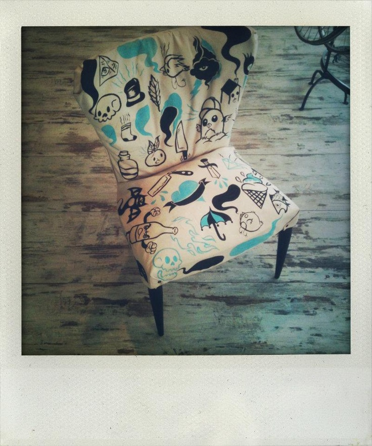 my frist re-covered/hand painted seat