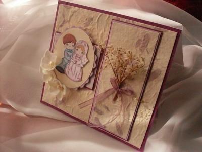 tarjeta preciosos momentos tarjeta matrimonial papel reciclado,cartulinas,flores secas scrapbook
