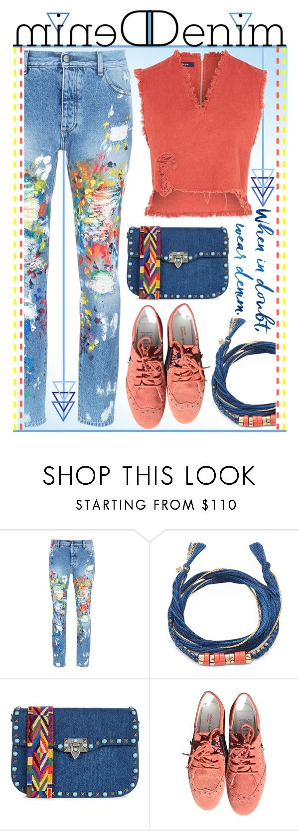 """""""Cover me in denim."""" by goldenopal ❤ liked on Polyvore featuring Palm Angels, Aurélie Bidermann, Valentino, Armani Jeans and WÃ¥ven"""