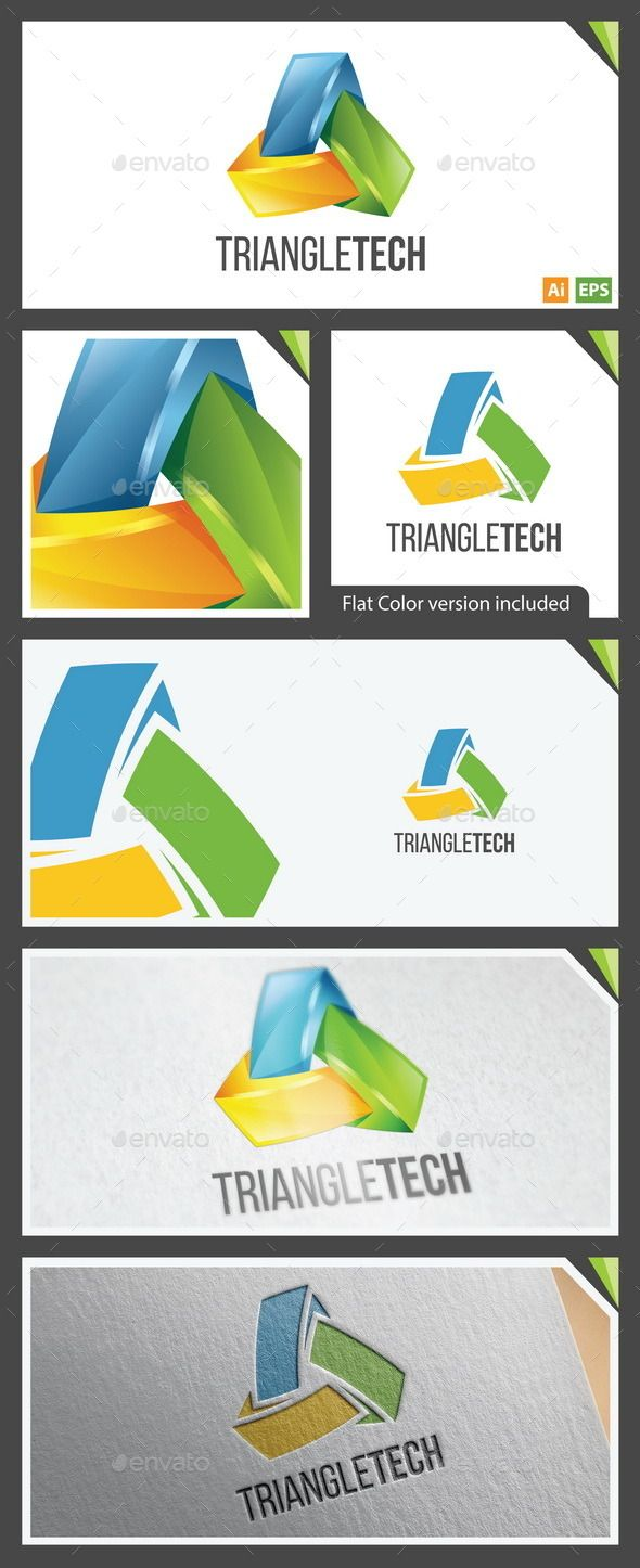 3D and Flat Logo  TriangleTech — Vector EPS #business #flat logo • Available here → https://graphicriver.net/item/3d-and-flat-logo-triangletech/10405191?ref=pxcr