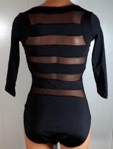 Natalie Dancewear Size Medium Black Sheer Panel Stripe Dance Leotard Bodysuit