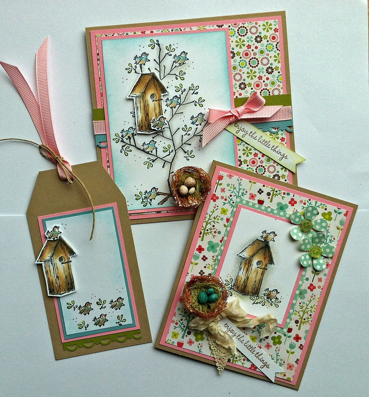 Birdhouse cards ... Stamps by Judith - To see more ideas and order Stamps by Judith & Heather go to www.stampsbyjudith.com