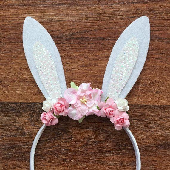 Headband Easter headband Bunny Ears Glitter Felt by GrantleyDesign