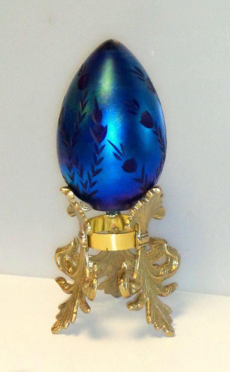 High Quality Signed Vandermark Art Glass Iridescent Egg · Unique FurnitureVintage  SignsEggs