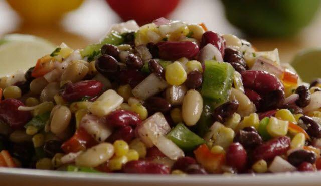 Mexican Bean Salad Allrecipes.com- so yummy and refreshing. I used 1/2 ...