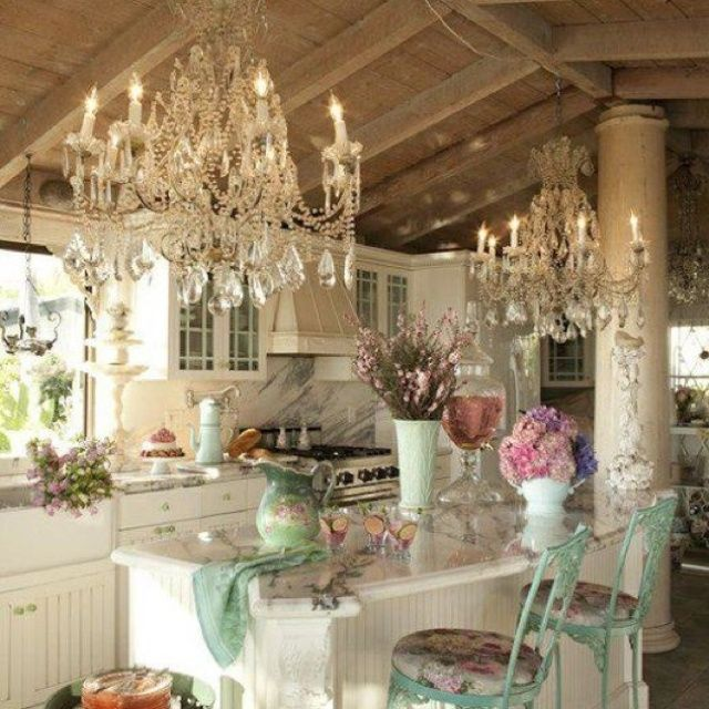 Shabby Chic Kitchen Chandeliers And All