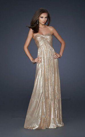 Shimmering Long Strapless Gold Prom Dresses 2013 [la femme 17085] - $156.00 : Cheap La Femme Dresses, La Femme Dresses On Sale