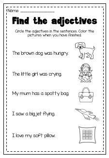 Adjective Printable Pack - Kindergarten First Second Grade