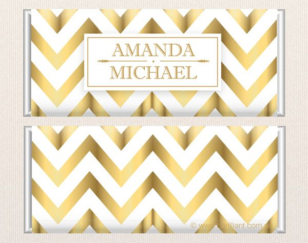 Gold Chevron Personalised chocolate bars www.barilliant.com.au Copyright © 2013 Barilliant #wedding #candy #gift #chocolate #beautiful #sweet #bonbonniere #treat #gift #bridal #bride #chevron #christening #birthday #barilliant