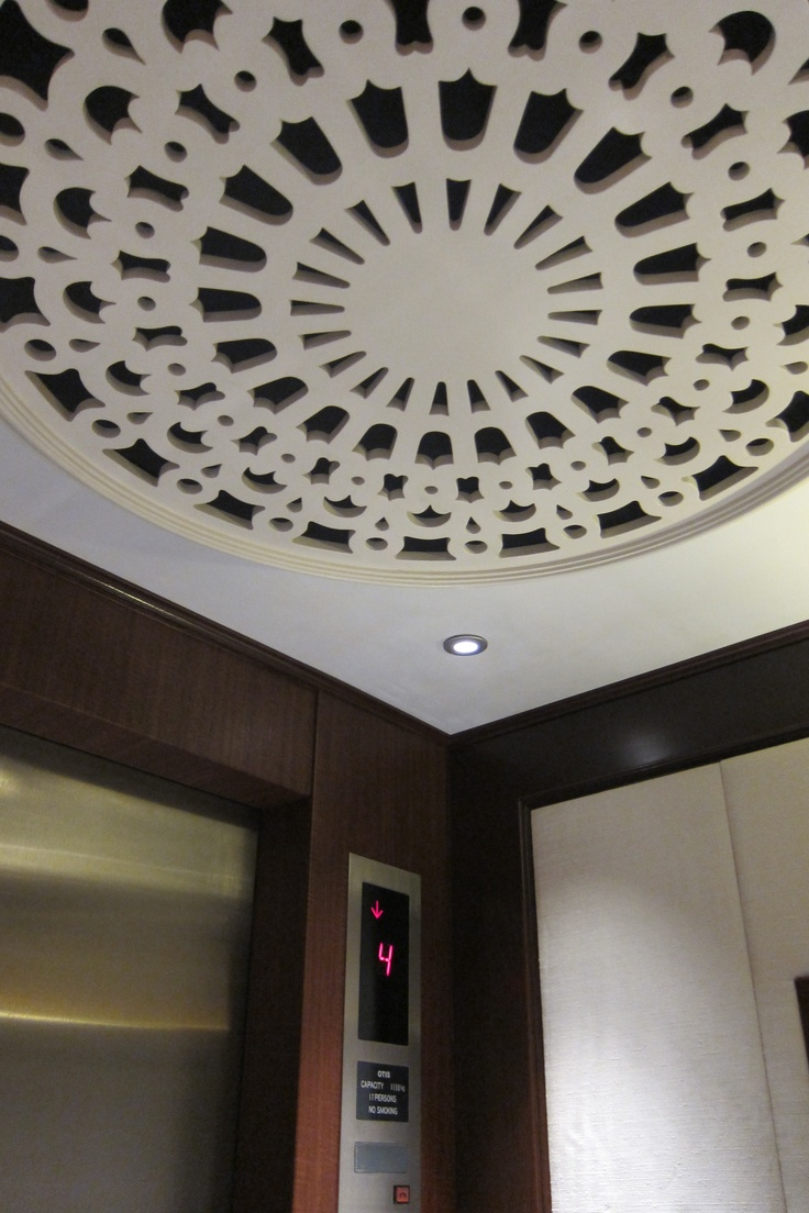 #White ceiling in the guests' elevator at Four Seasons