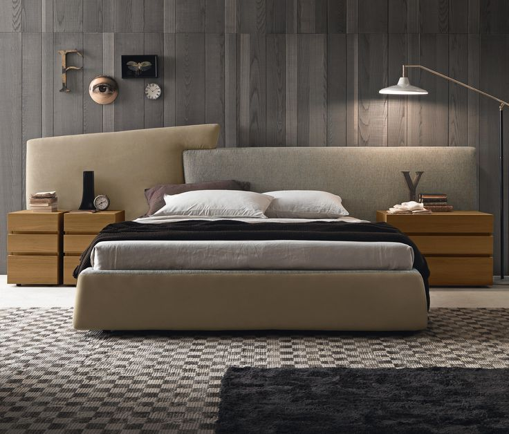 Design Wohnwand Straight ~ Wingsystemtall bed with Twice headboard upholstered with Opis and