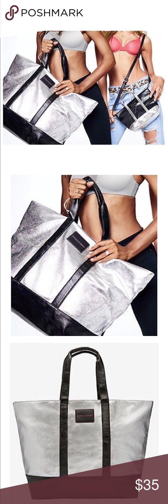 "Victoria Secret Weekender Bag Metallic silver and black Weekender Bag by Victoria Secret. The dimensions are 25"" L x 16"" W x 7"" H PINK Victoria's Secret Bags Travel Bags"