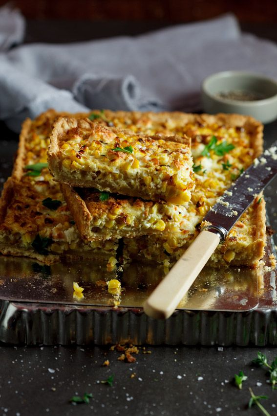 Roasted sweet corn and feta quiche