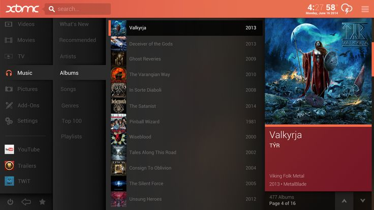 Skin concept Substratum on XBMc.org by Arcanthur