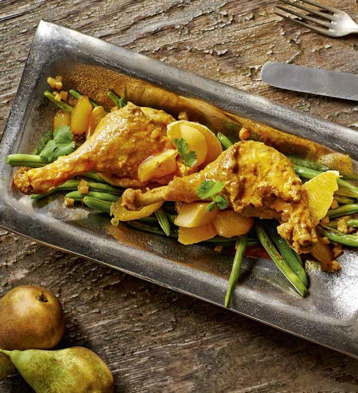 Kaczka w sosie curry z gruszkami i pomarańczą #lidl #przepis #okrasa #kaczka #curry #gruszka #pomarancz