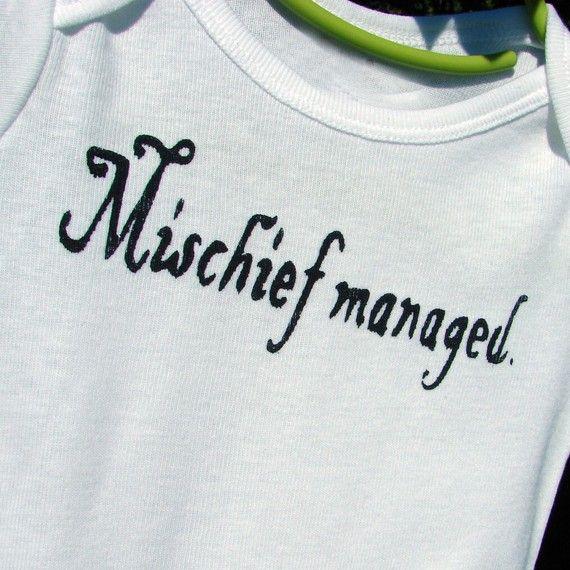 harrry potter onesie: Baby Food, Potter Fans, Management Onesie, Harry Potter Onesie, Baby Gifts, Mischief Management, One Pieces, Kids, Bachelorette Shirts