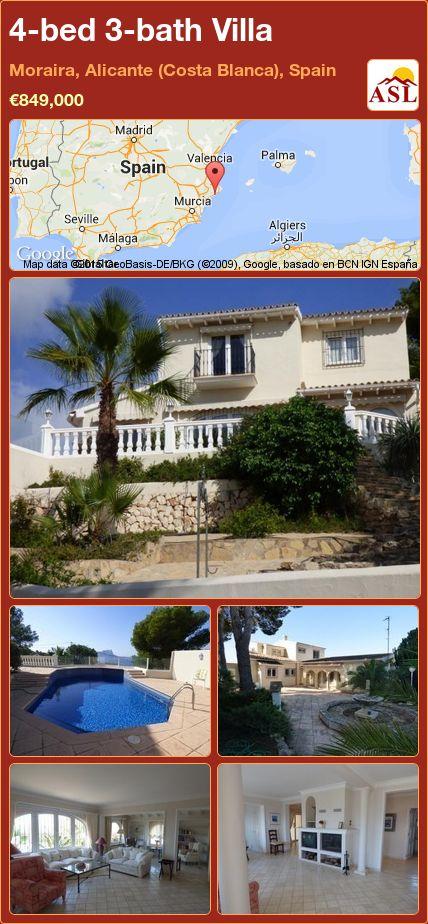 4-bed 3-bath Villa in Moraira, Alicante (Costa Blanca), Spain ►€849,000 #PropertyForSaleInSpain