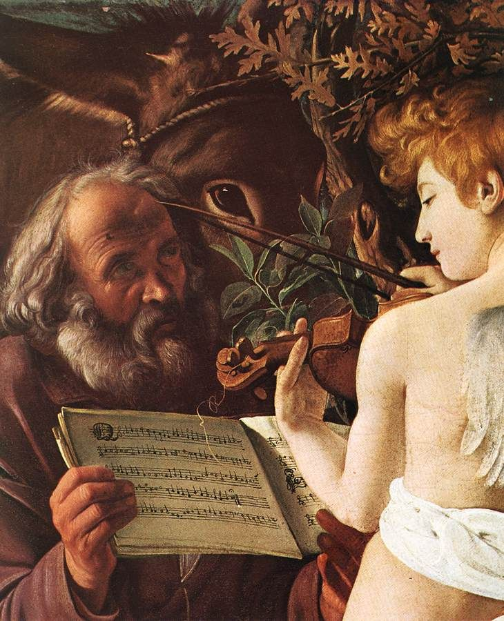 Joseph holds music for an angel (!) 1571 - 1610 Caravaggio, Rest on Flight to Egypt, 1596-97 (detail)