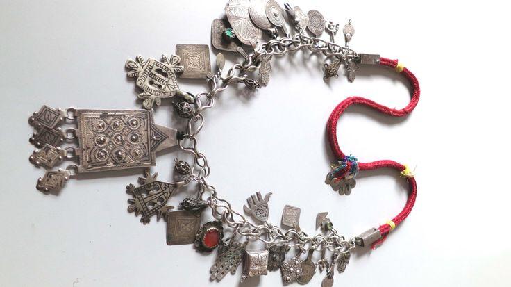 Ancient Vintage Moroccan Berber Silver Fibula Chain