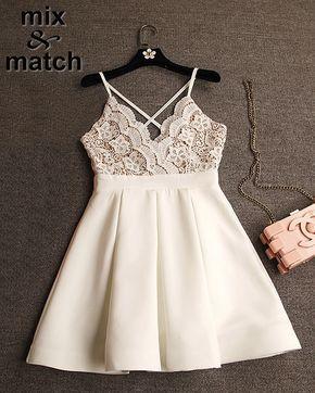 Sexy Vestido lindo Vestido branco V-cuello Correas Cruzadas Backless Plisado Mini Vestido de bola Del Remiendo Del Cordón Del Vestido Blanco DR03378C