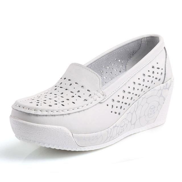 Women's Platform Shoes Genuine Leather Footwear White Black Pink Comfort Nurse Wedges Breathable Swing Pumps