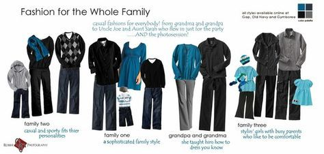 Great ideas for different color schemes for family portraits. Coordinating instead of matching. neutral colors with pops of colors {different colors or one coordinating color} Great ideas.
