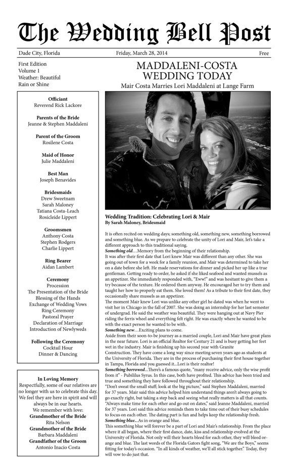 PERSONALIZED PRINTABLE WEDDING PROGRAM/WEDDING NEWSPAPER  (Can also be for a Bridal Shower, Birthday, Anniversary, etc.)    Customize your