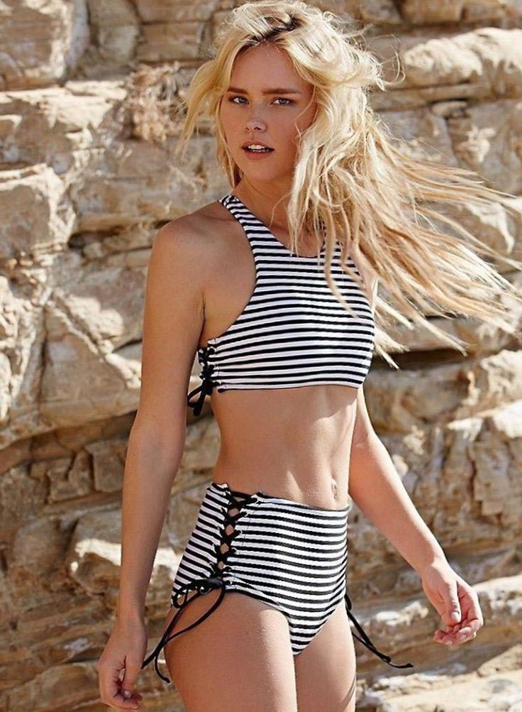 Newest unique design makes you outstanding. Striped print and side lace-up swimsuit offers a slim look. See more details at OASAP.