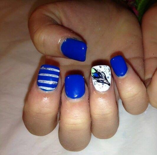 My nails peacock stripes blue nail designs acrylic for Acrylic nails at salon