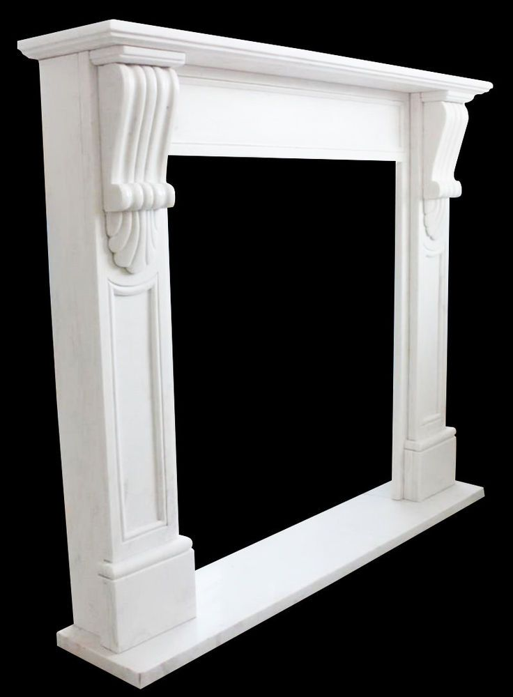 Details about White Marble Fireplace Mantel Surround Simple Clean Design, Hand Carved