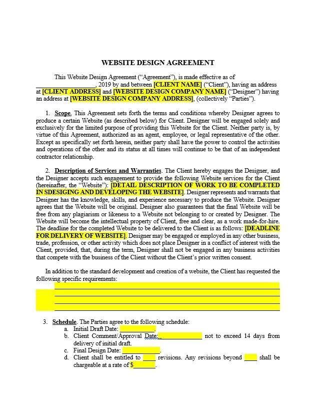 Website Design Agreement Template Contract Template Website Design Web Design Contract