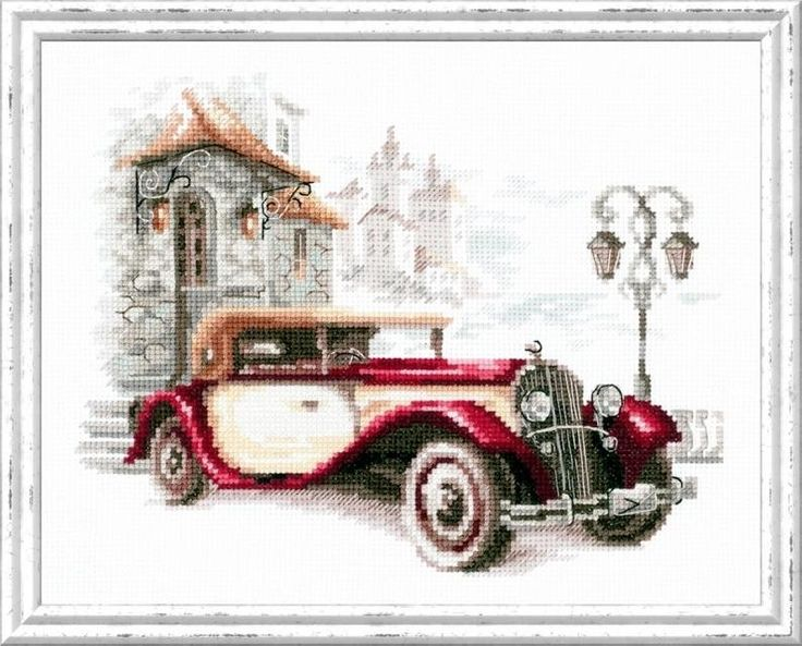 New Sealed Cross Stitch Hand Embroidery Kit Retro Car, Cadillac, Automobile Embroidery, Vintage Red Car