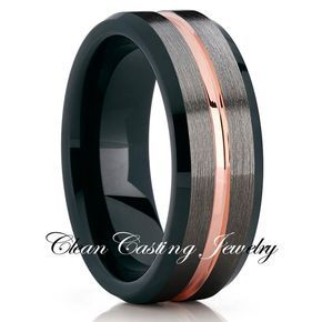 Black Rose Gold Tungsten Wedding Band Tungsten Wedding Ring Unique