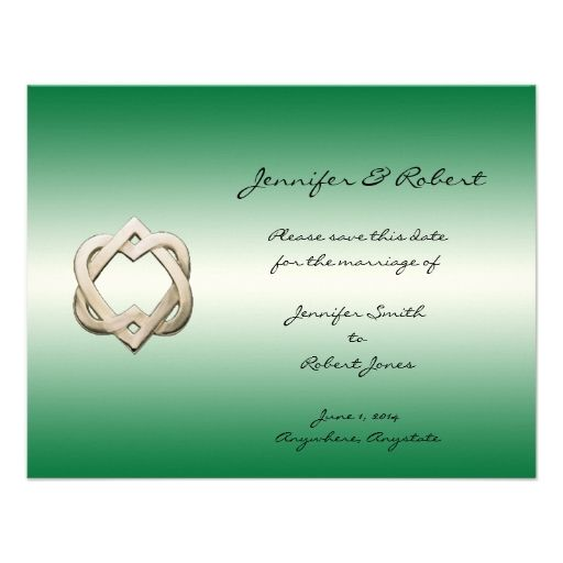 Celtic Hearts on Green Gradient Save the Date Personalized Invitations