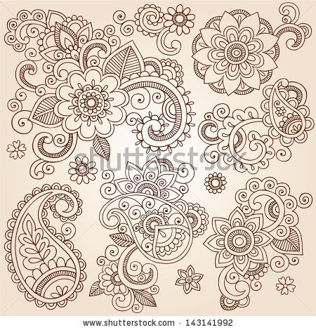 Henna Paisley Flowers Mehndi Tattoo Doodles Set- Abstract Floral Illustration Design Elements by blue67design, via Shutterstock
