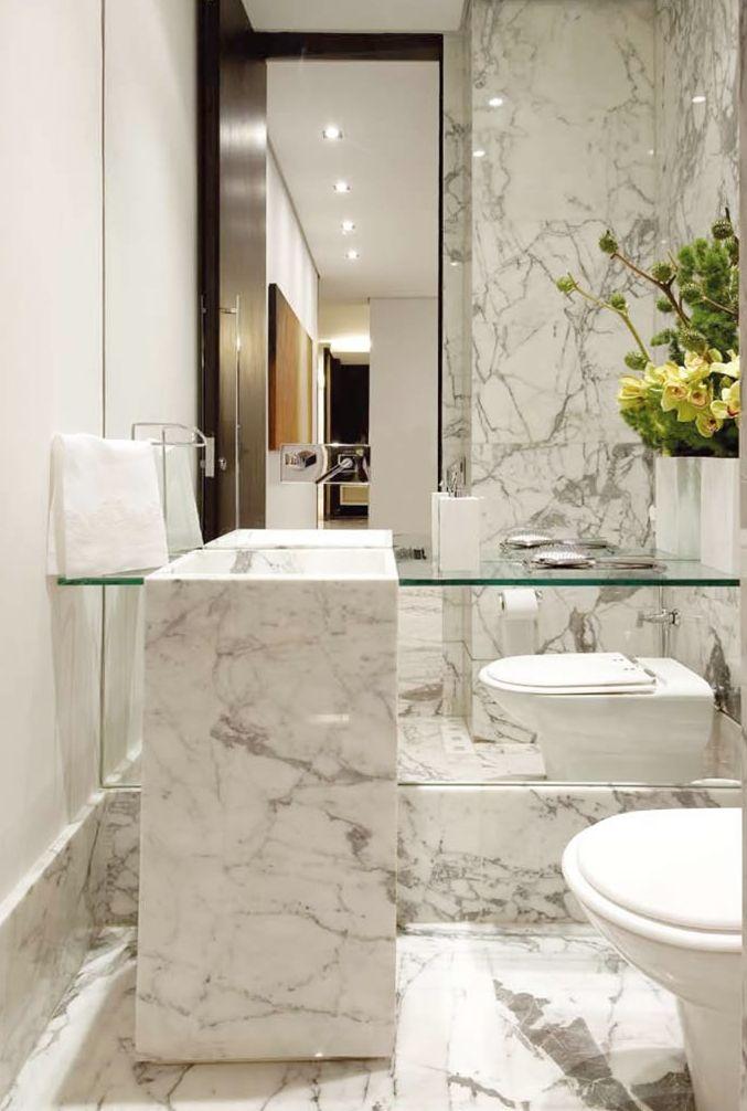 Lavabos decorados veja dicas e mais de 50 modelos for Carrara bathroom ideas