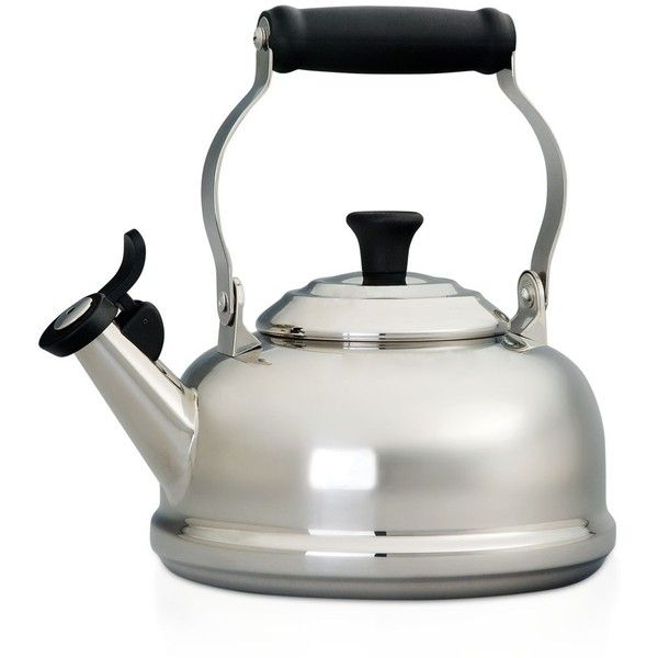 Le Creuset 1.8-Quart Stainless Steel Whistling Kettle found on Polyvore featuring home, kitchen & dining, cookware, silver, whistling teakettle, le creuset cookware, le creuset kettle, stainless kettle and whistling kettle