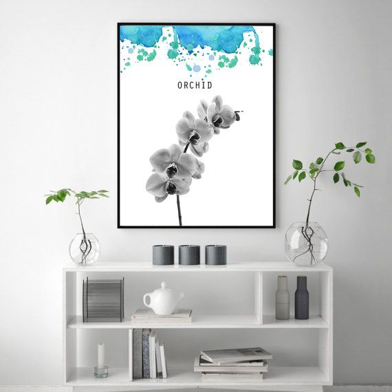Printable Orchid poster, Nursery idea, Orchid water color, Flower wall art, Black white art, PRINTABLE art, Flower wall print, Flower decor, Spring flowers orchid