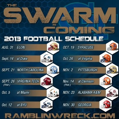 The 2013 Georgia Tech football schedule. #wreckem #gojackets @GT Athletics