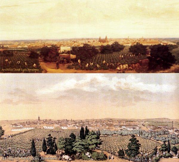 Dos grabados del siglo XIX de paisajes de Jerez con escenas de vendimia. Gentileza de Pepe Jiménez.