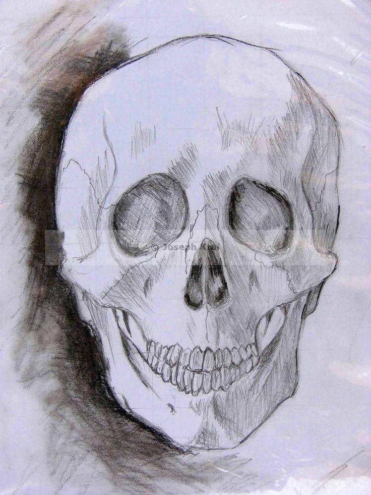 koponya  - szén és grafit / Szunyoghy Andás könyvéből