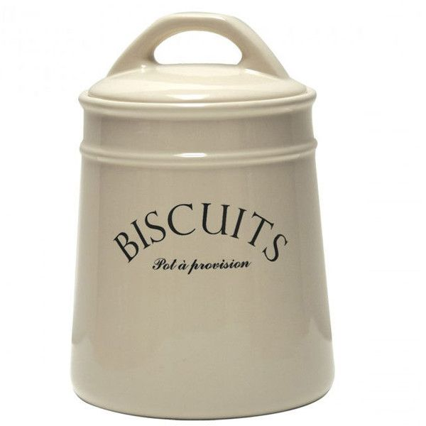 Dot & Bo Rustique Canister - Biscuits ($24) ❤ liked on Polyvore featuring home, kitchen & dining, food storage containers and porcelain canister