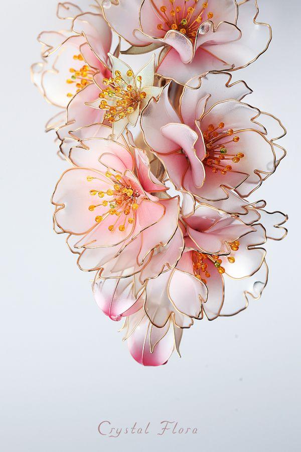 Нежные цветы сакуры / Delicate flowers of sakura  www.facebook.com/... (of synthetic resin and wire, American flowers, it is not kanzashi by Sakae, luxury jewelry, wedding decorations, wedding flowers, transparent flowers)