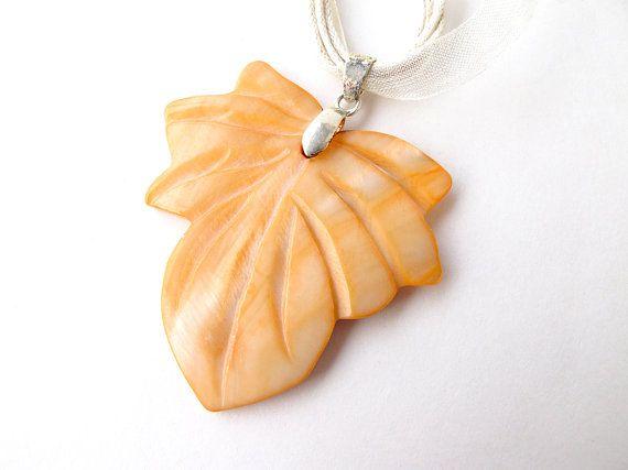 Leaf necklace orange leaf leaf jewelry glass by APlusJewelryCrafts